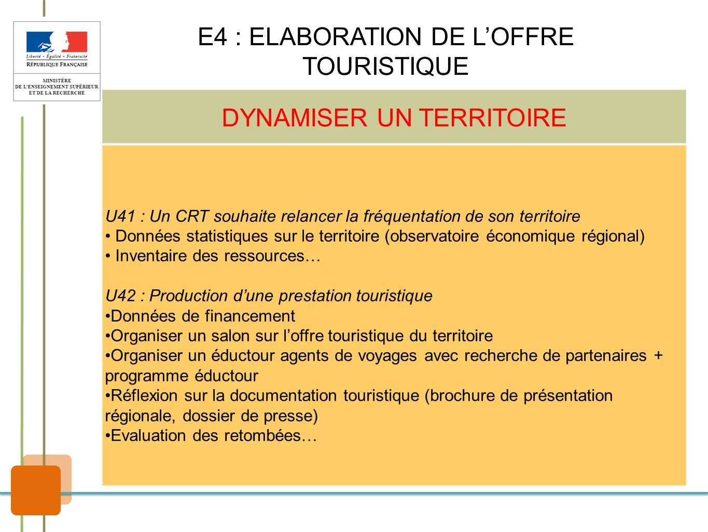 E4 : ELABORATION DE L'OFFRE TOURISTIQUE DYNAMISER UN TERRITOIRE