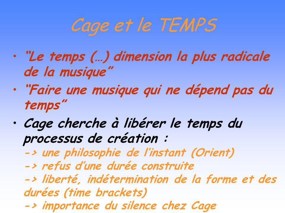 Cage et le TEMPS Le temps (…) dimension la plus radicale de la musique Faire une musique qui ne dépend pas du temps