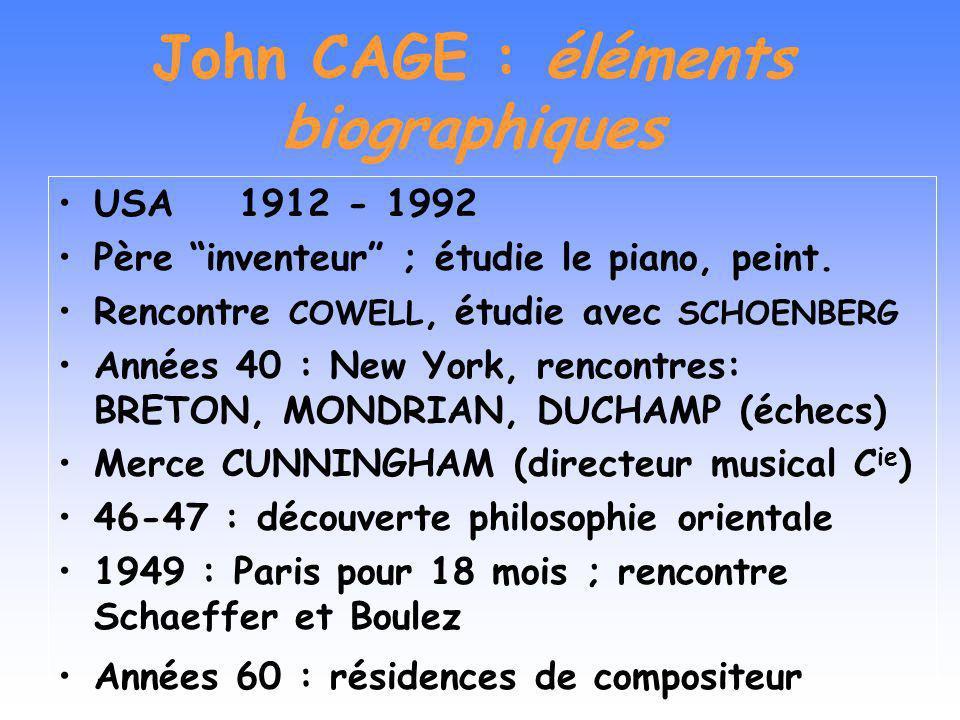 John CAGE : éléments biographiques