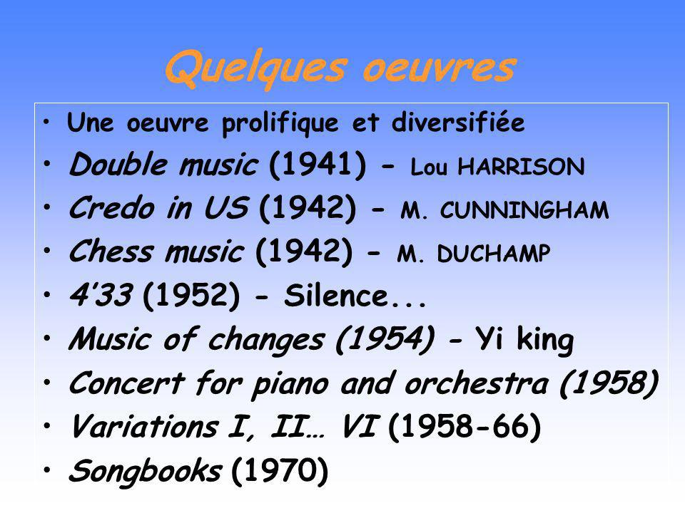 Quelques oeuvres Double music (1941) - Lou HARRISON