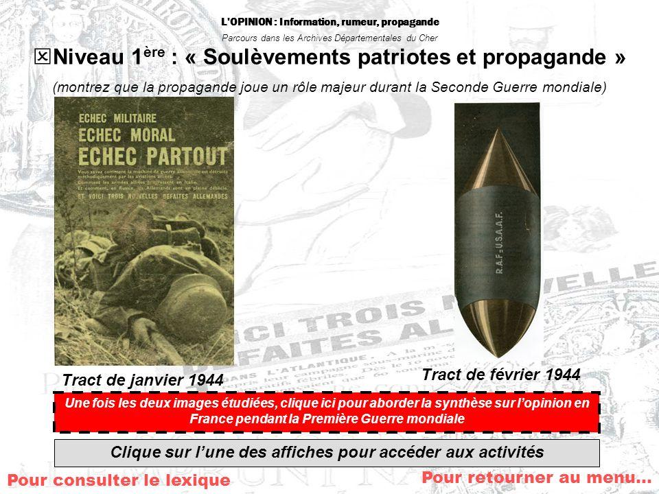 Niveau 1ère : « Soulèvements patriotes et propagande »