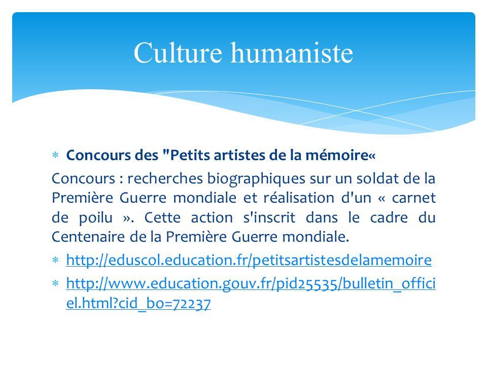 Culture humaniste Concours des Petits artistes de la mémoire«