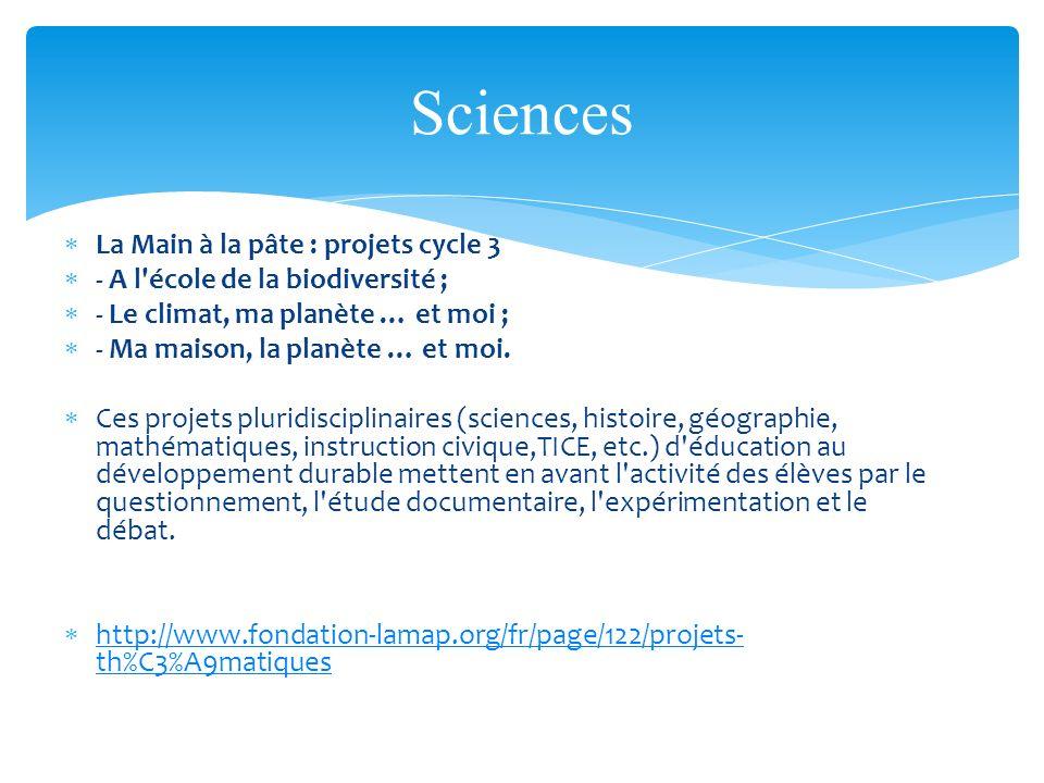 Sciences La Main à la pâte : projets cycle 3