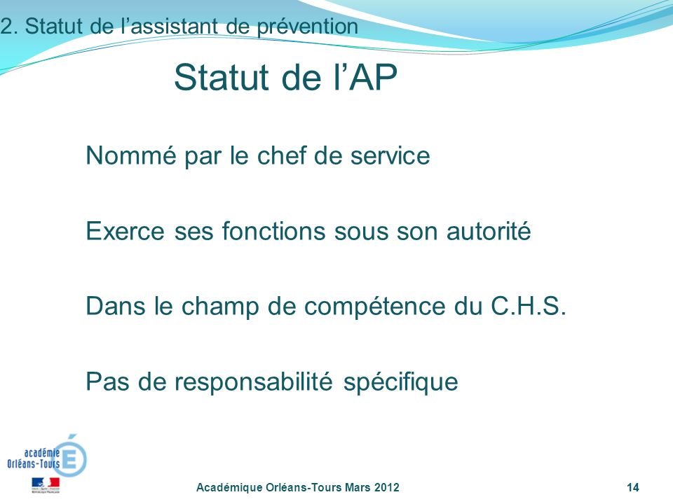 2. Statut de l'assistant de prévention