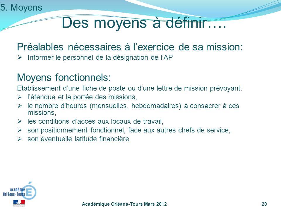 5. Moyens Des moyens à définir…. Préalables nécessaires à l'exercice de sa mission: Informer le personnel de la désignation de l'AP.