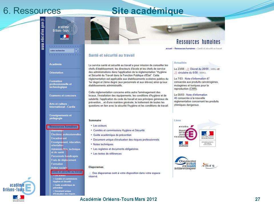 6. Ressources Site académique Académie Orléans-Tours Mars 2012