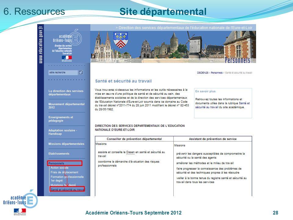 6. Ressources Site départemental Académie Orléans-Tours Septembre 2012