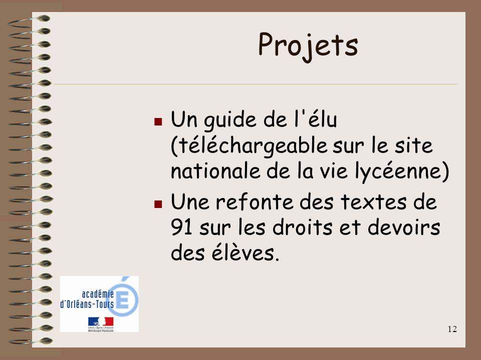 Projets Un guide de l élu (téléchargeable sur le site nationale de la vie lycéenne)