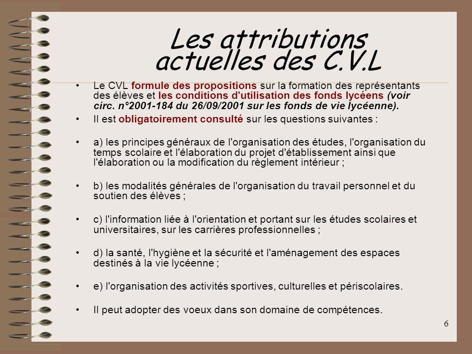 Les attributions actuelles des C.V.L