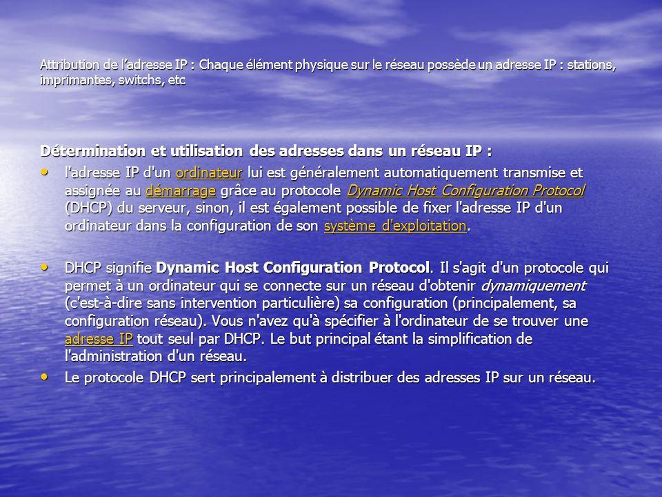 Détermination et utilisation des adresses dans un réseau IP :