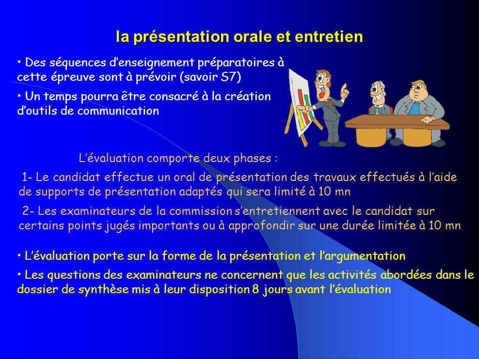 la présentation orale et entretien