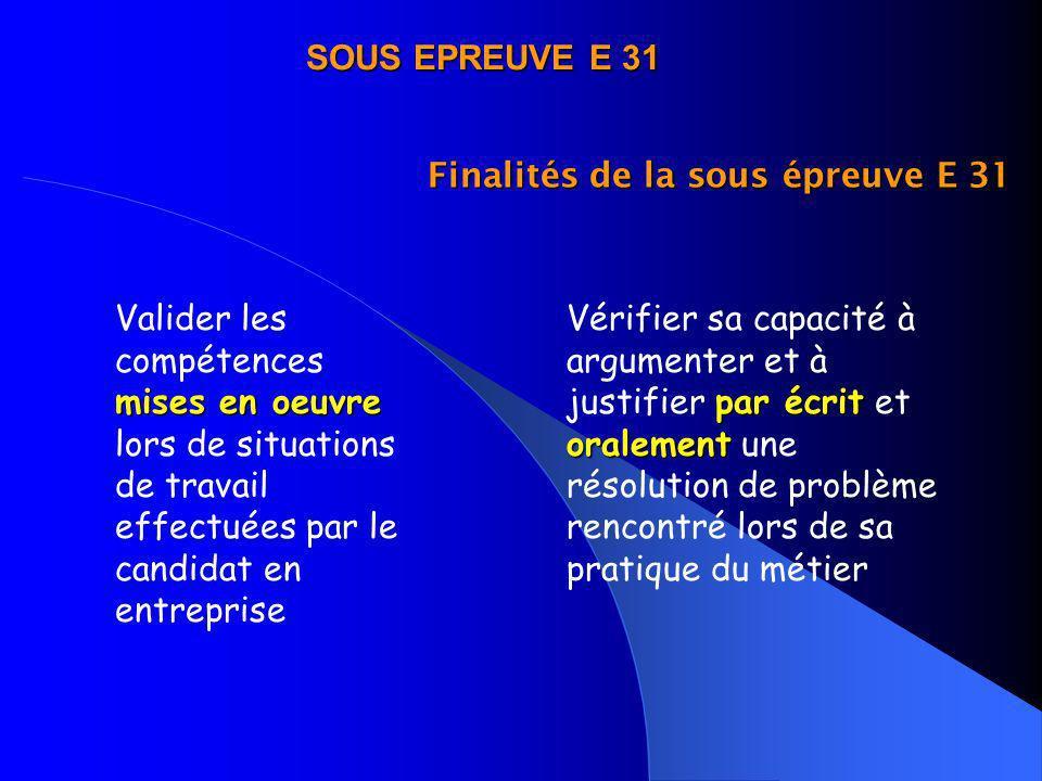 SOUS EPREUVE E 31 Finalités de la sous épreuve E 31.