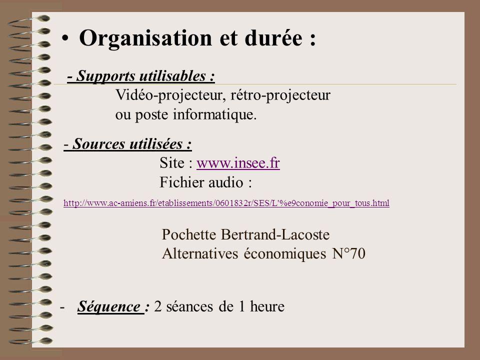 Organisation et durée :