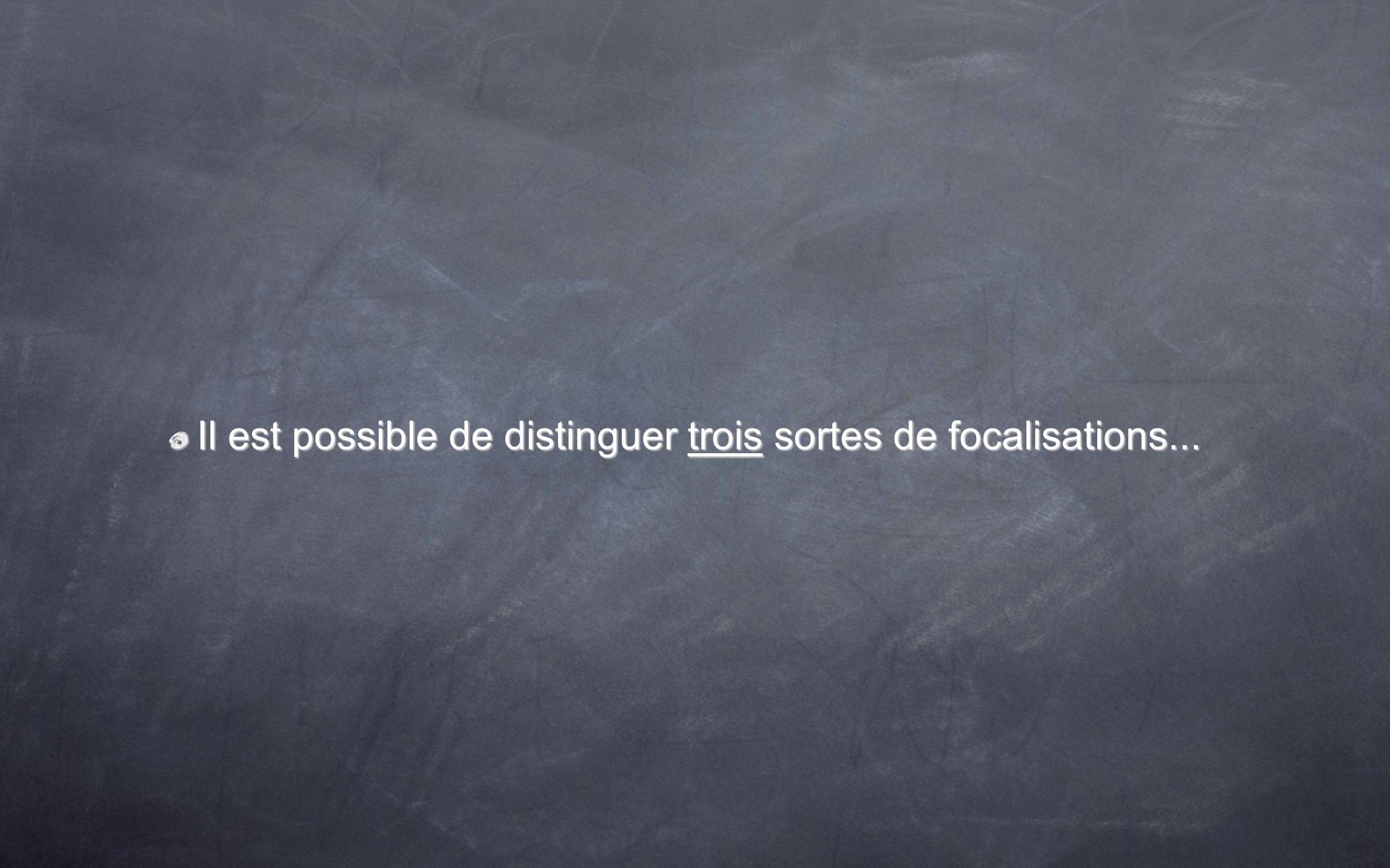 Il est possible de distinguer trois sortes de focalisations...