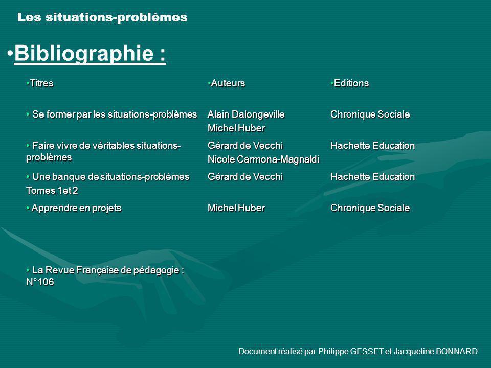 Bibliographie : Les situations-problèmes Titres Auteurs Editions
