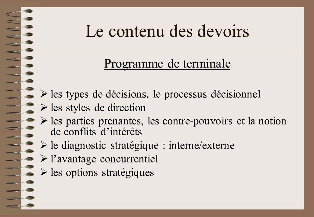 Programme de terminale