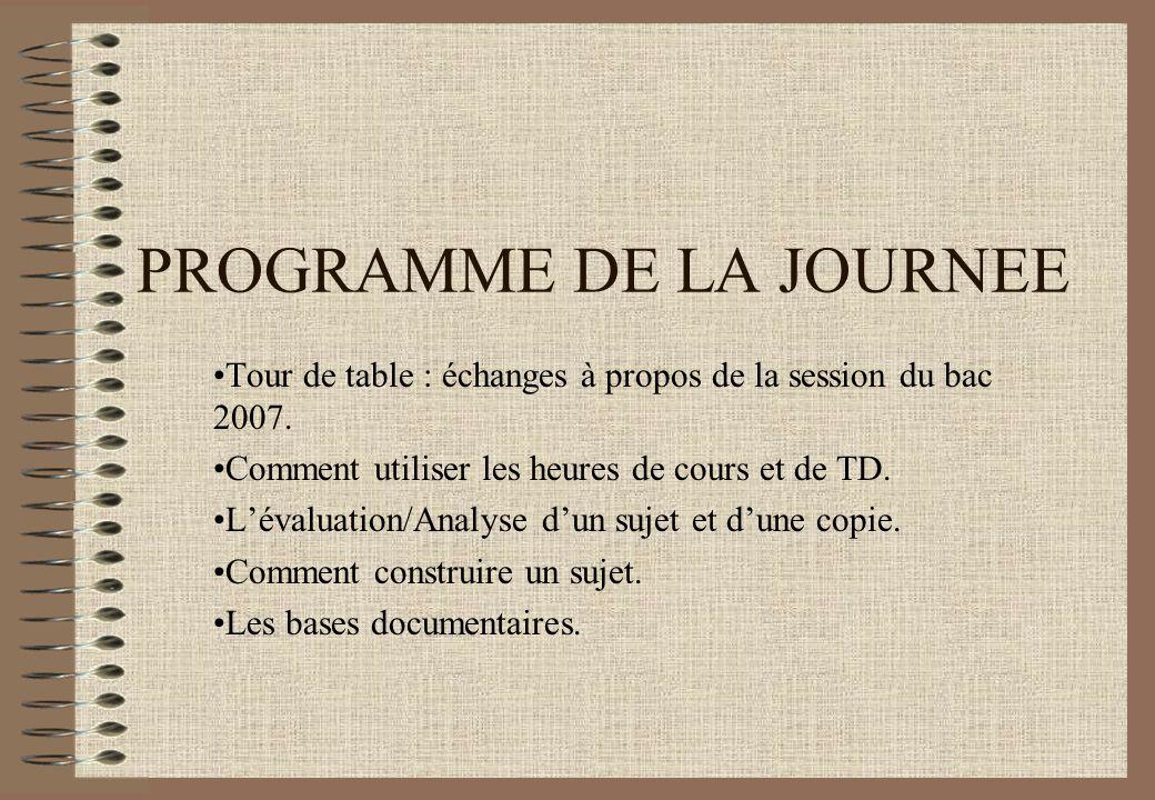 PROGRAMME DE LA JOURNEE