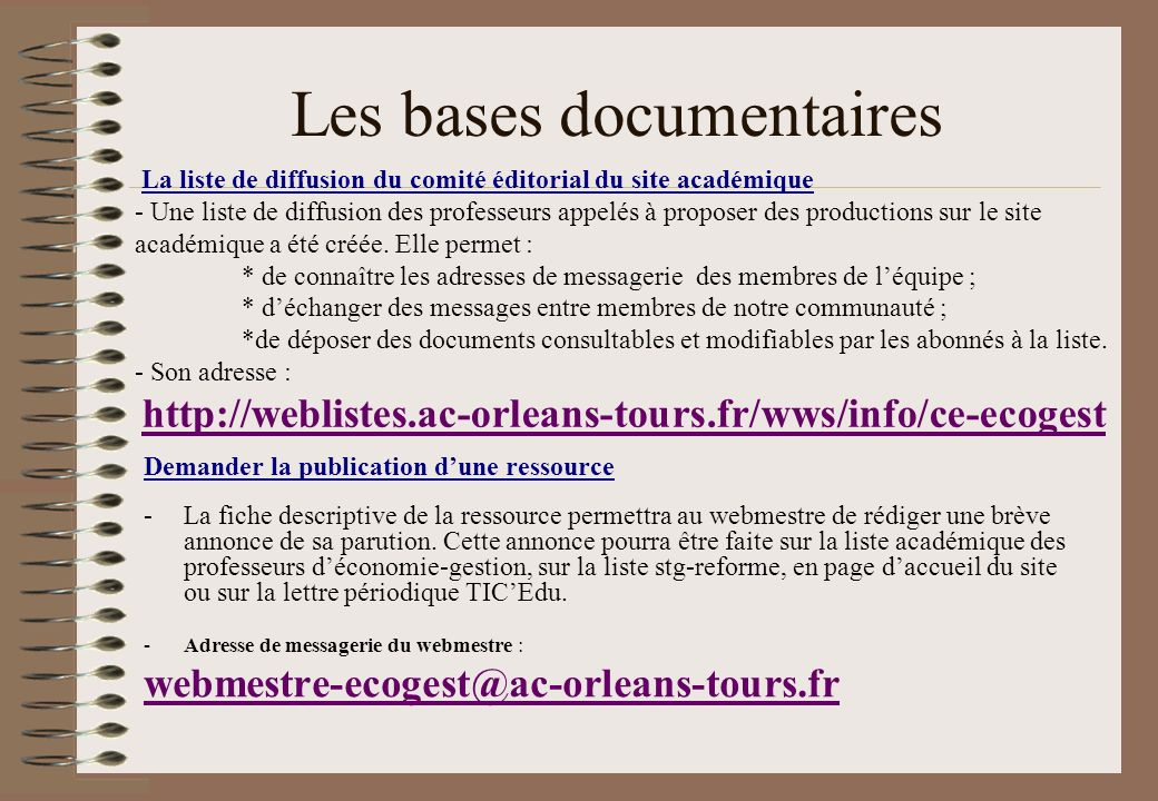 Les bases documentaires
