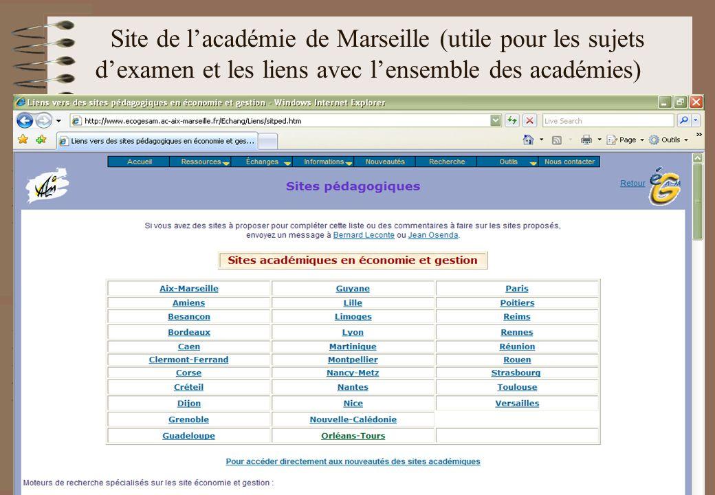Site de l'académie de Marseille (utile pour les sujets d'examen et les liens avec l'ensemble des académies)