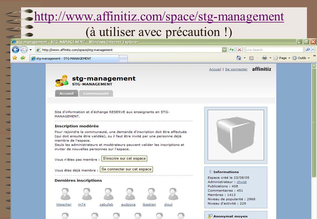 http://www.affinitiz.com/space/stg-management (à utiliser avec précaution !)