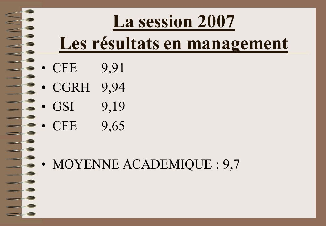 La session 2007 Les résultats en management