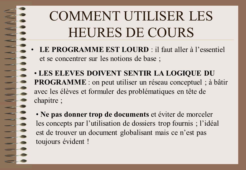 COMMENT UTILISER LES HEURES DE COURS