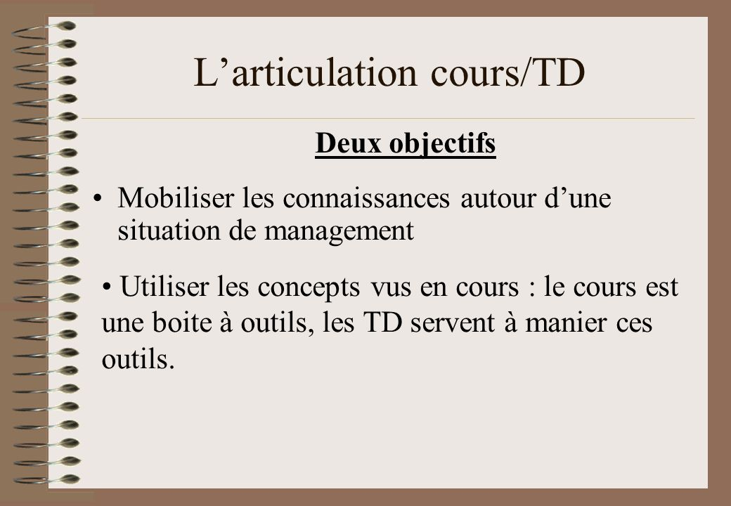 L'articulation cours/TD