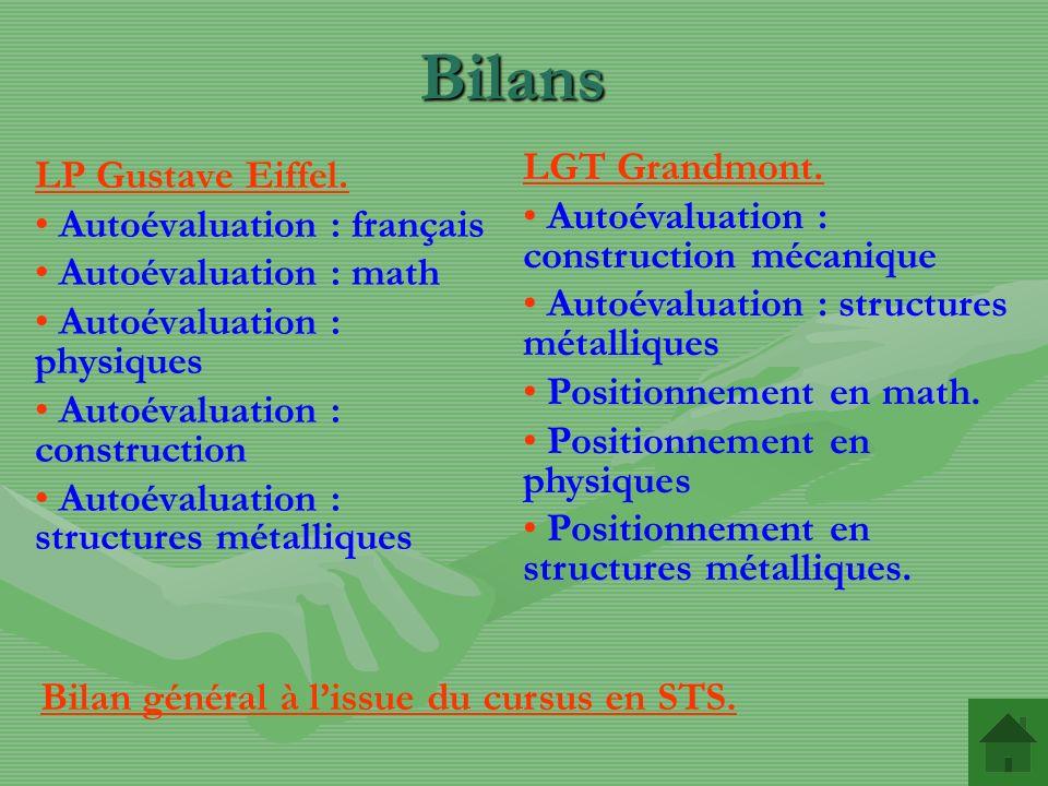 Bilans LGT Grandmont. LP Gustave Eiffel.