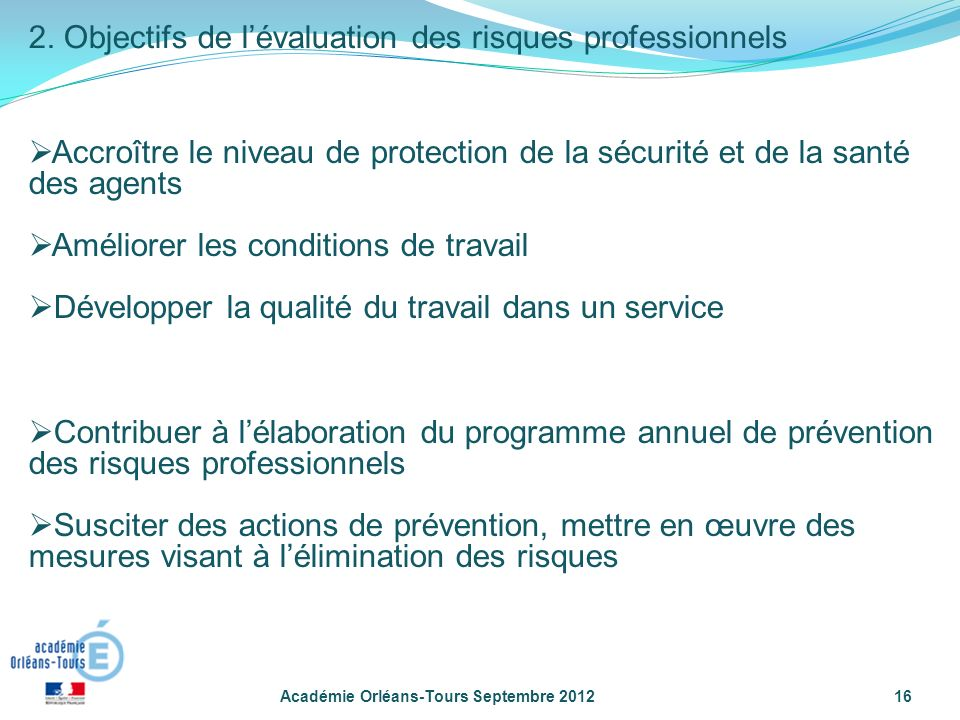 2. Objectifs de l'évaluation des risques professionnels