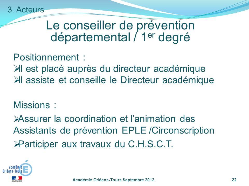Le conseiller de prévention départemental / 1er degré
