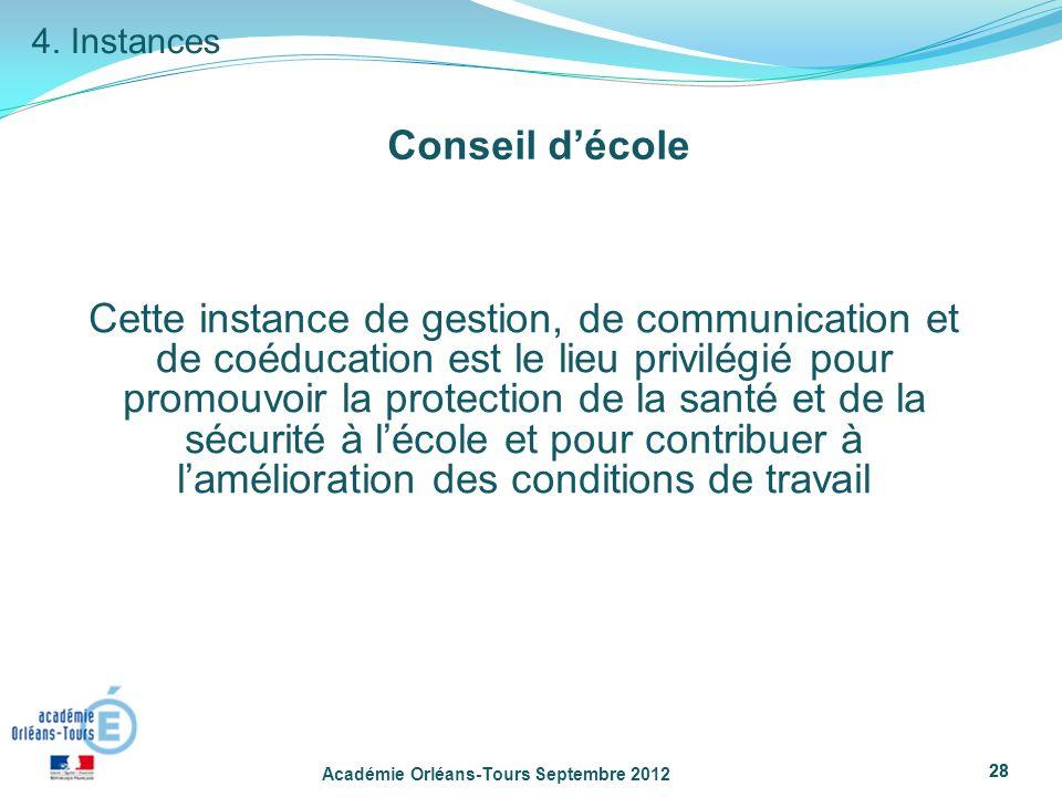 4. Instances Conseil d'école.