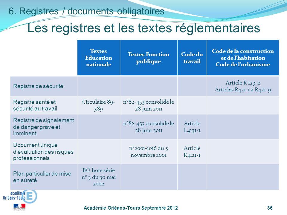 Les registres et les textes réglementaires
