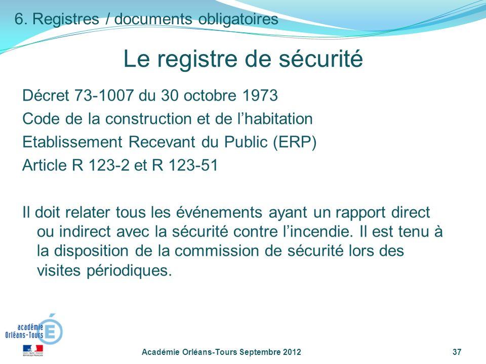 Le registre de sécurité