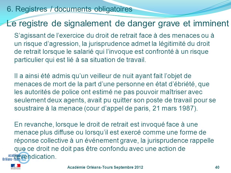 Le registre de signalement de danger grave et imminent