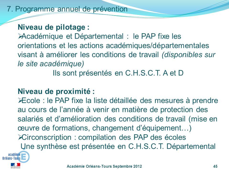 7. Programme annuel de prévention