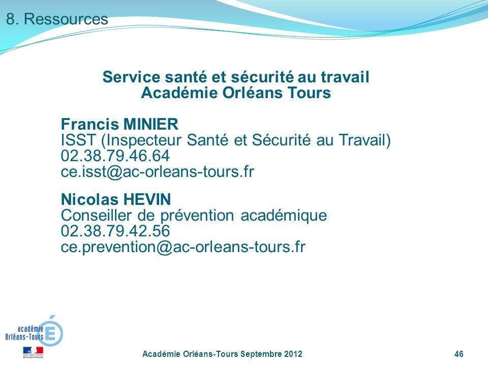 Service santé et sécurité au travail Académie Orléans Tours