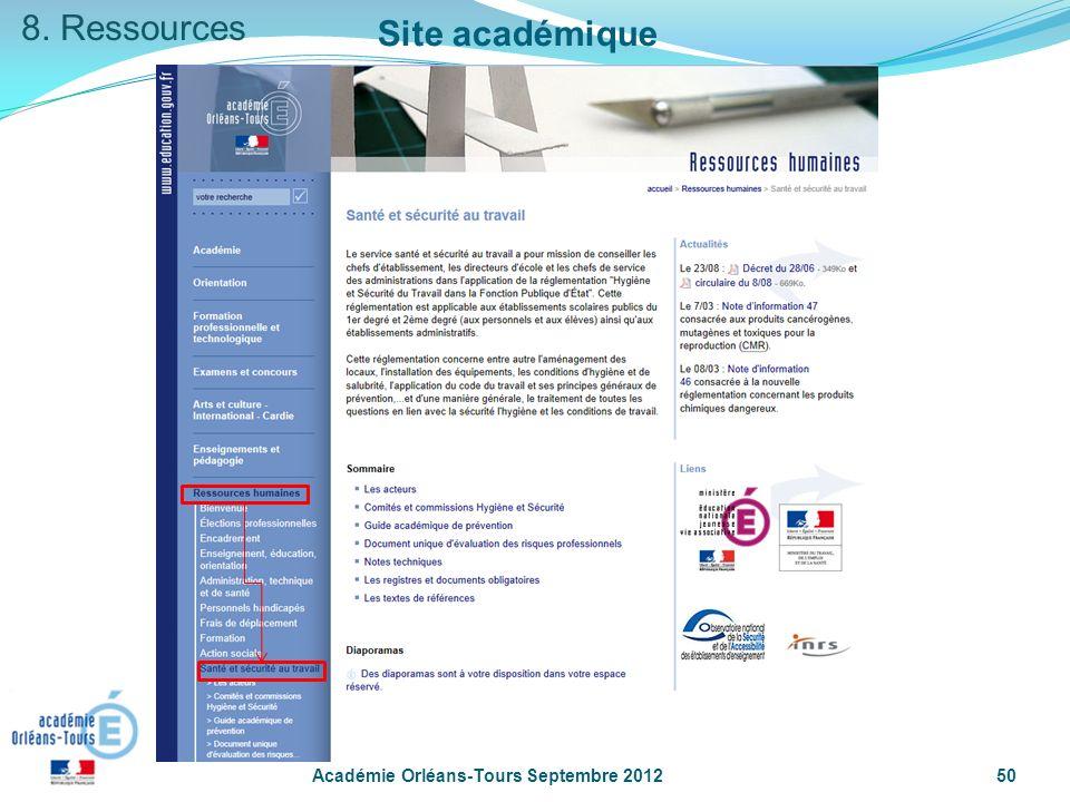 8. Ressources Site académique Académie Orléans-Tours Septembre 2012