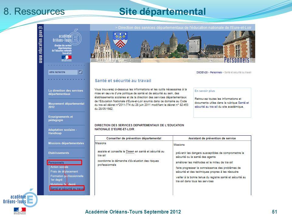 8. Ressources Site départemental Académie Orléans-Tours Septembre 2012
