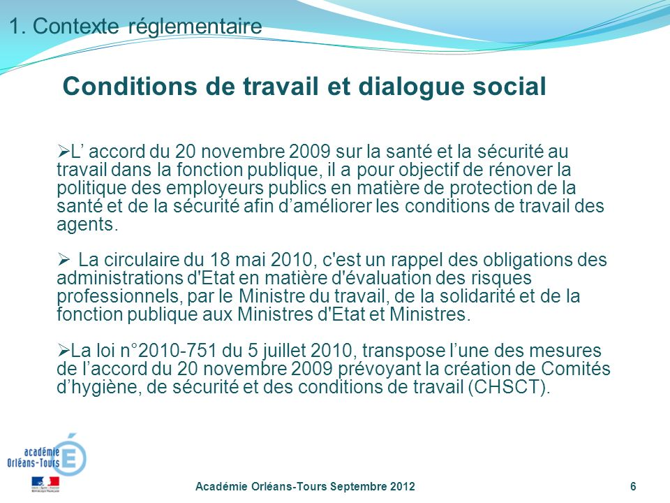Conditions de travail et dialogue social