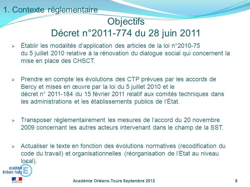 Objectifs Décret n°2011-774 du 28 juin 2011