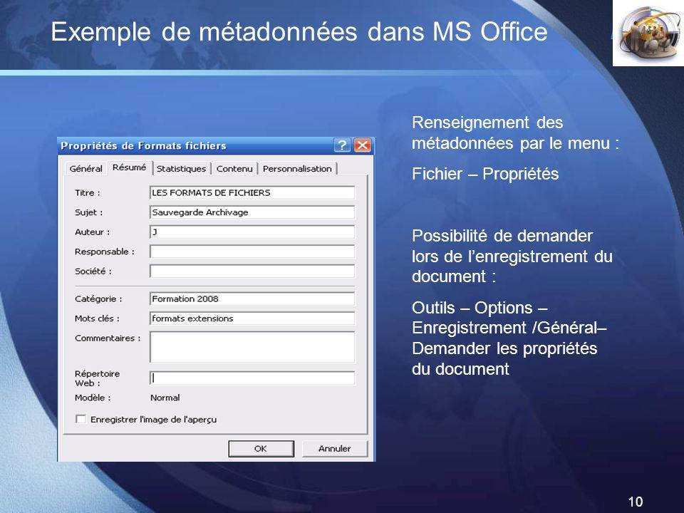 Exemple de métadonnées dans MS Office