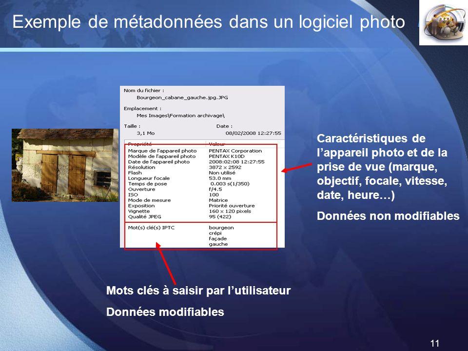 Exemple de métadonnées dans un logiciel photo