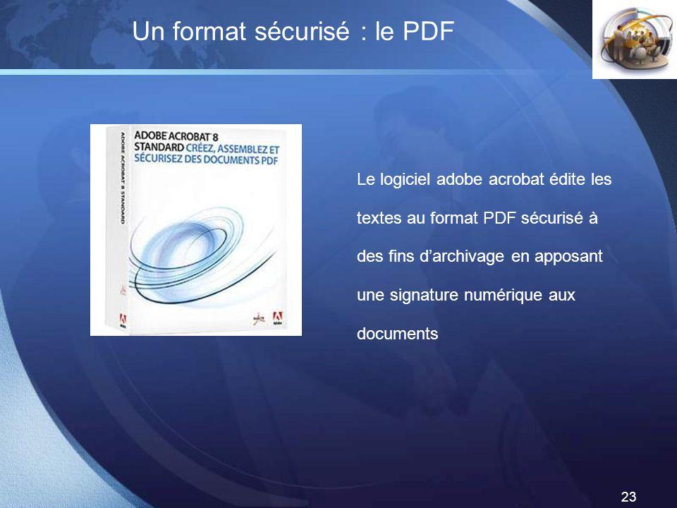 Un format sécurisé : le PDF