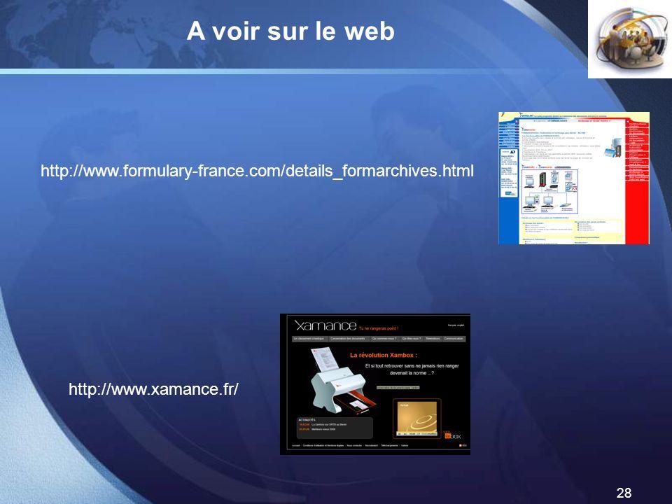 A voir sur le web http://www.formulary-france.com/details_formarchives.html http://www.xamance.fr/