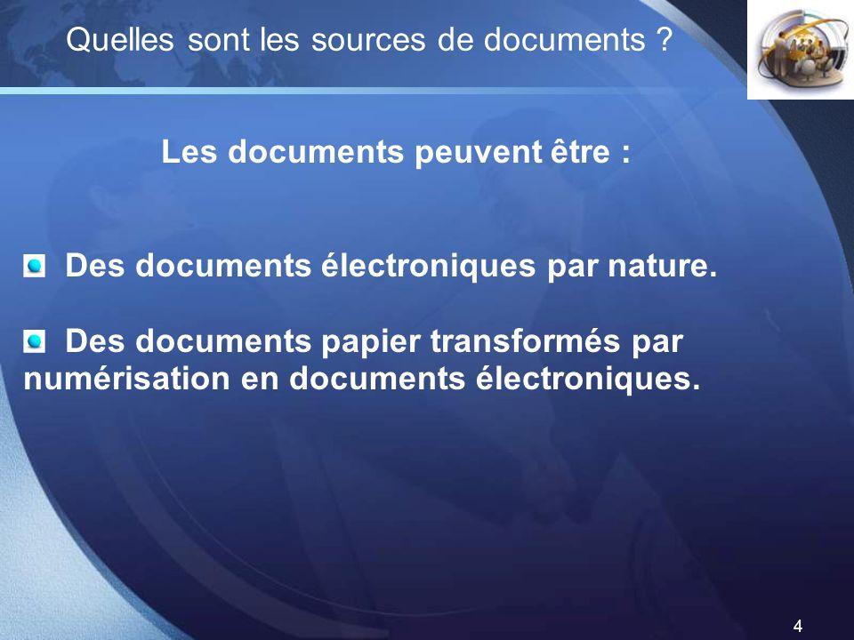 Les documents peuvent être :