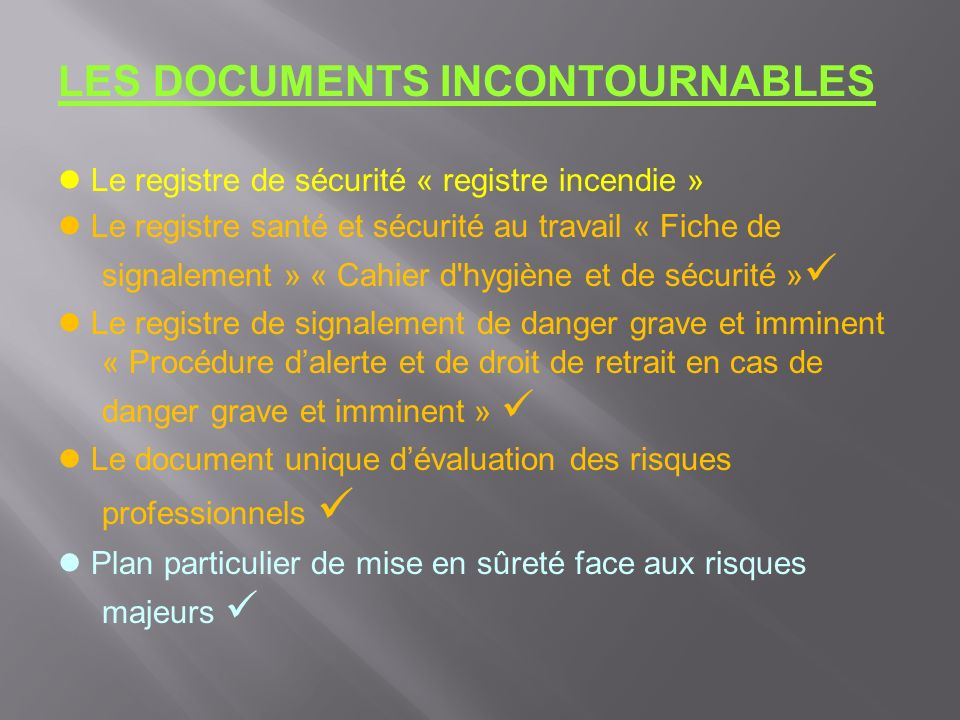 LES DOCUMENTS INCONTOURNABLES