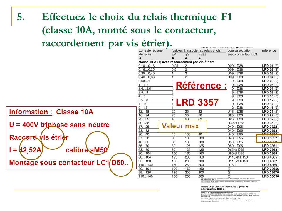 Effectuez le choix du relais thermique F1 (classe 10A, monté sous le contacteur, raccordement par vis étrier).