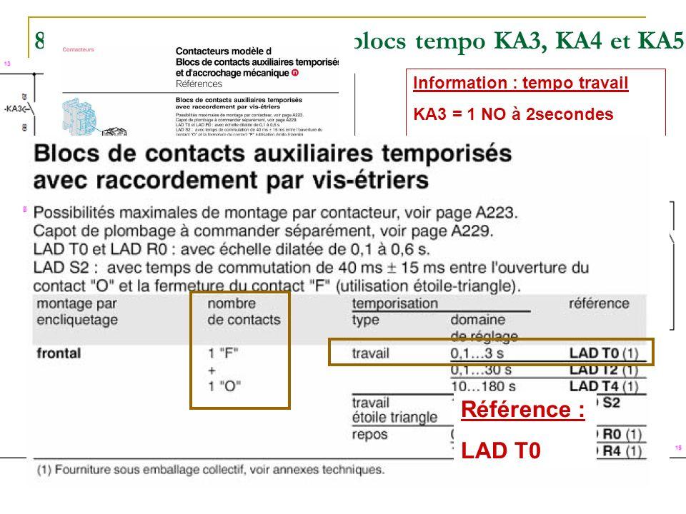 Effectuez le choix des blocs tempo KA3, KA4 et KA5 (raccordement par vis-étrier).