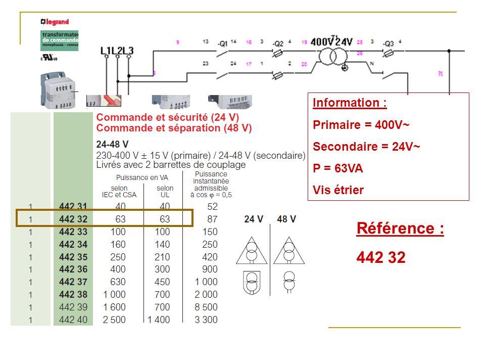 Référence : 442 32 Information : Primaire = 400V~ Secondaire = 24V~