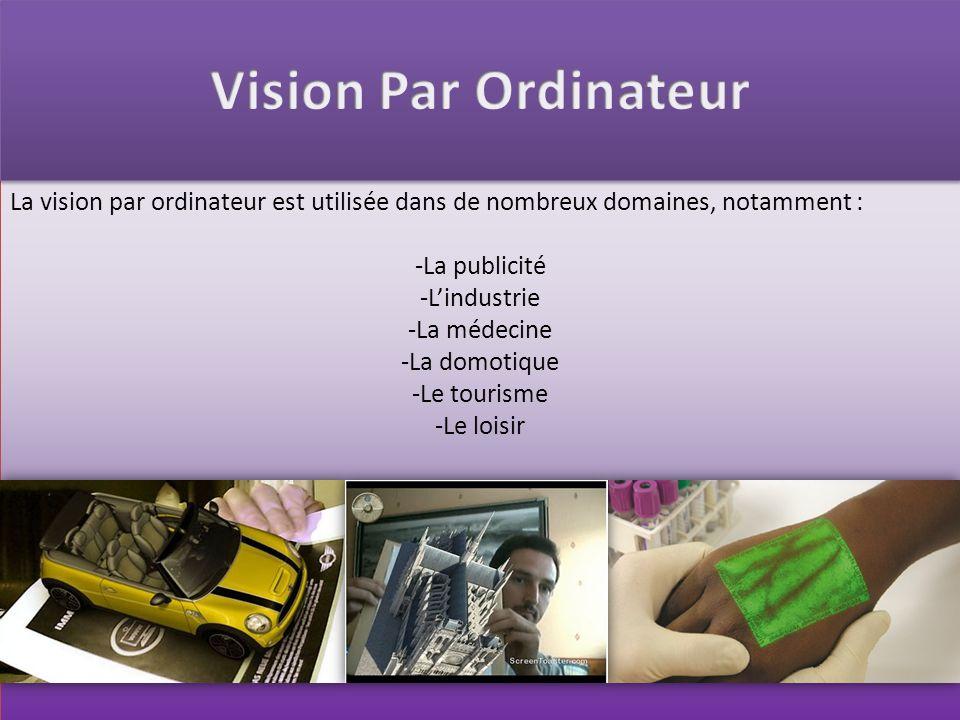Vision Par Ordinateur La vision par ordinateur est utilisée dans de nombreux domaines, notamment : La publicité.